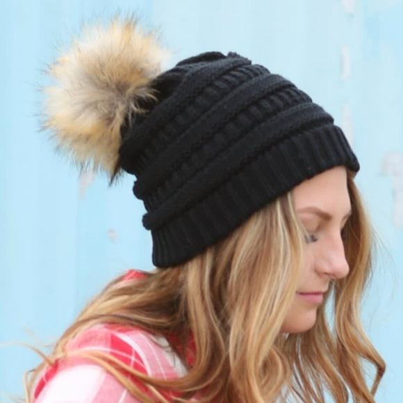 fdbf4695878 C.C Black Cable Knit Beanie Faux Fur Pom Pom